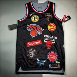Off-The-shelf Tripartite Crossover Supreme X NBA Jersey Original Development Fabric Customized Overall Material 3 Different Pla